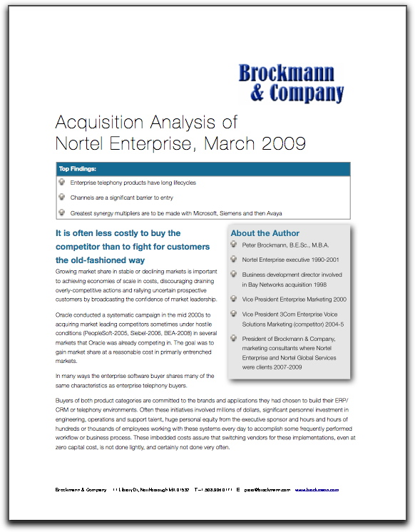 Acquisition Analysis of Nortel Enterprise